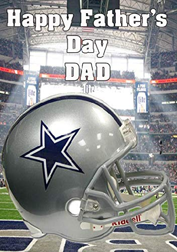 pnc193 Dallas Cowboys Helm Happy Father's Day Card A5 Gepersonaliseerde Groeten Kaarten Geplaatst door de VS Gifts for All 2016 uit Derbyshire UK
